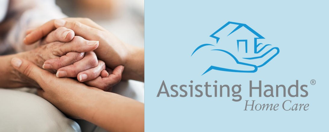 elder hands being held with assisting hands home care logo