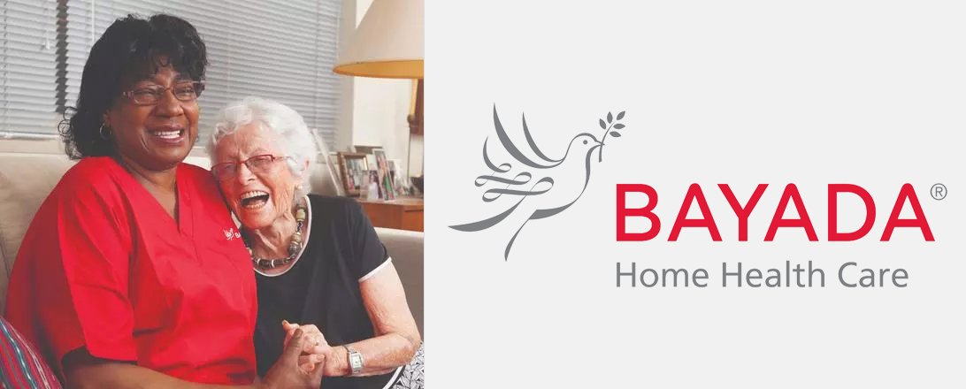 Bayada home health care logo and photo of care worker with patient