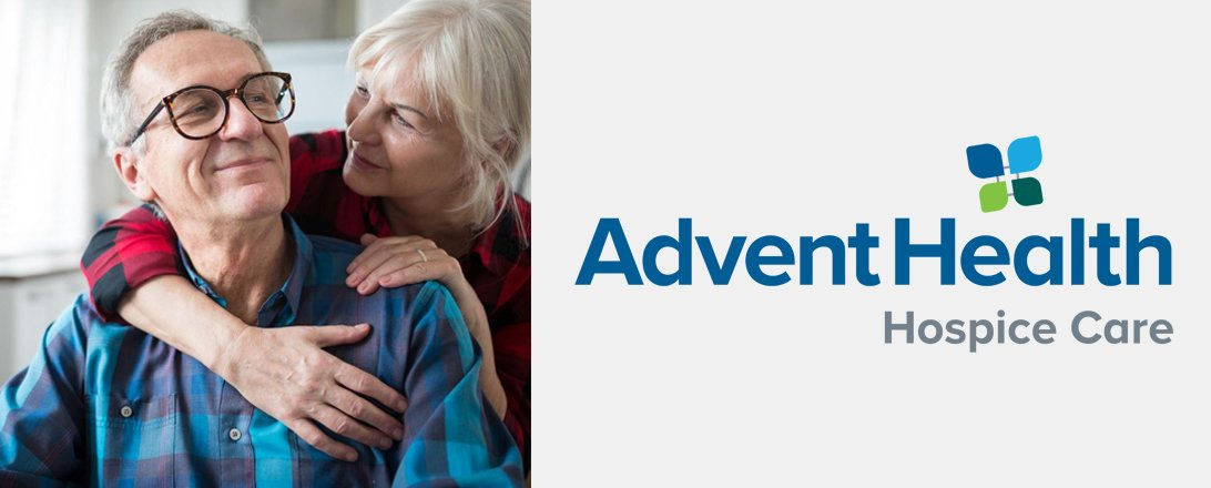 elder couple embracing with advent health hospice care logo