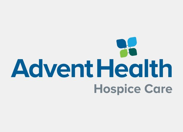 advent health hospice care logo over light grey background