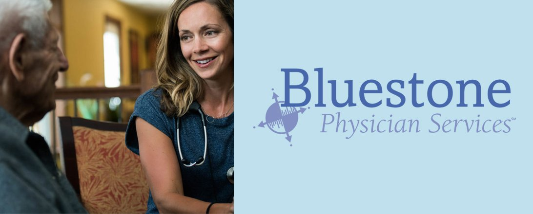 home physician with elder man and bluestone physician services logo