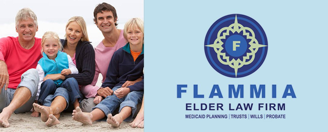 family sitting at the beach with flammia elder law firm logo