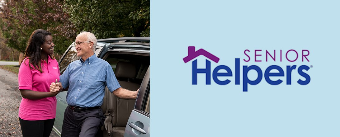 woman helping elder man out of vehicle with senior helpers logo