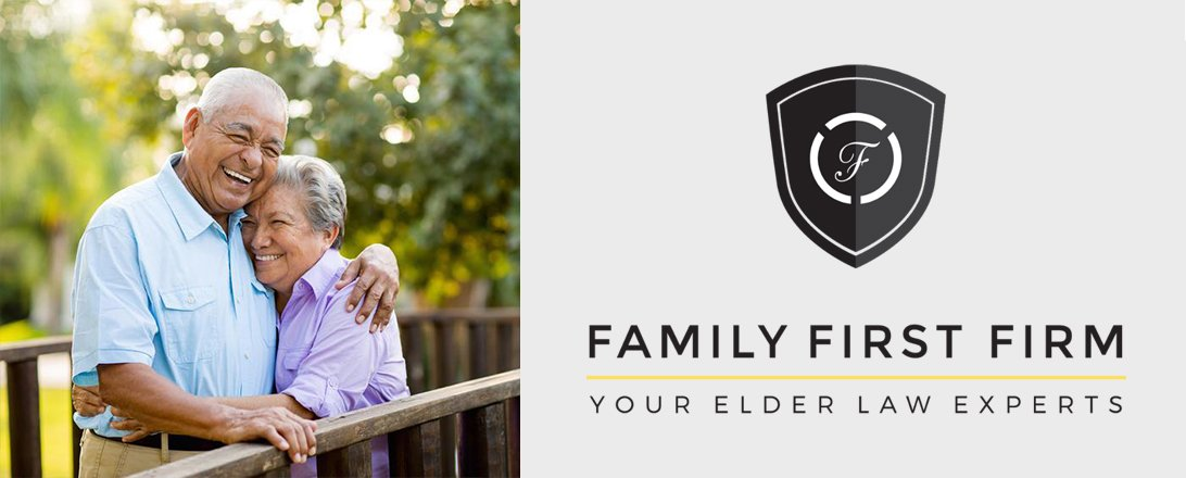 elder couple smiling with Family First Logo